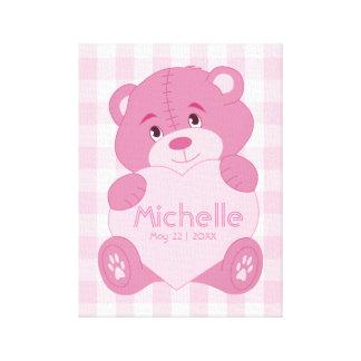 Impressão Em Tela Monograma personalizado do urso de ursinho do rosa