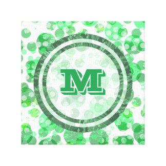 Impressão Em Tela Monograma verde afligido dos pontos