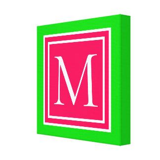 Impressão Em Tela Monograma verde do verão e branco cor-de-rosa do