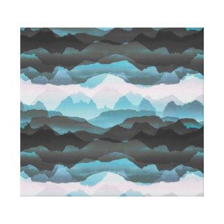 Impressão Em Tela Montanhas azuis estilizados desvanecidas