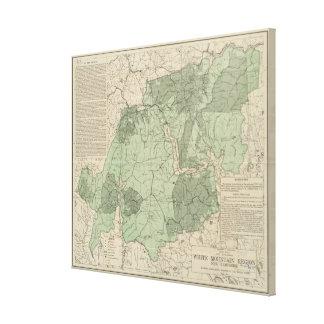 Impressão Em Tela Montanhas brancas New Hampshire Mapa do vintage