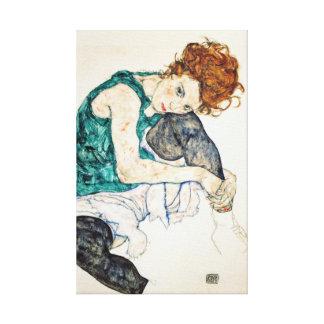 Impressão Em Tela Mulher assentada Schiele de Egon com joelho