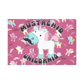 Impressão Em Tela Mustachio Unicornio!