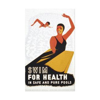 Impressão Em Tela Natação do vintage para o exercício da saúde