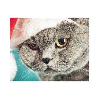 Impressão Em Tela Natal cinzento do gato - gato do Natal - gato do