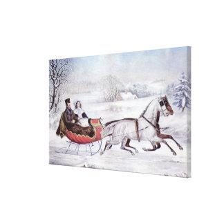 Impressão Em Tela Natal vintage, o inverno da estrada, cavalo do