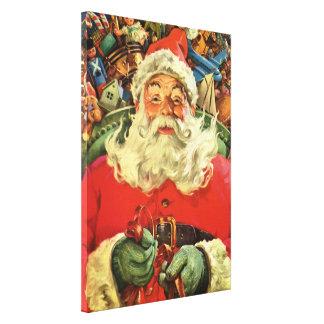 Impressão Em Tela Natal vintage, Papai Noel no trenó com brinquedos