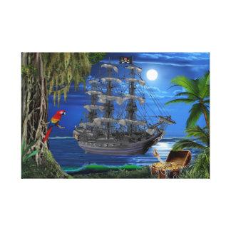 Impressão Em Tela Navio de pirata enluarada Mystical