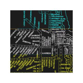 Impressão Em Tela NÉON da rota do mapa do sistema do vintage do