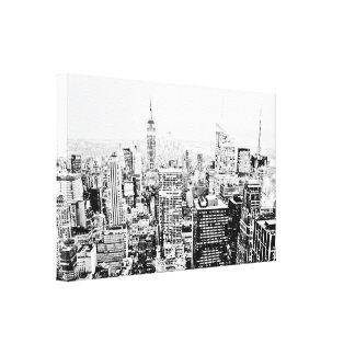 Impressão Em Tela New York, New York (panorama preto & branco)
