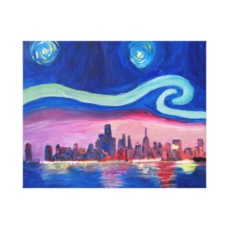 Impressão Em Tela Noite estrelado em inspirações de Chicago - de Van