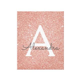 Impressão Em Tela Nome & inicial cor-de-rosa do monograma do brilho