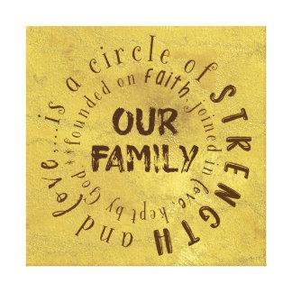 Impressão Em Tela Nossas citações da família: Círculo da força e do