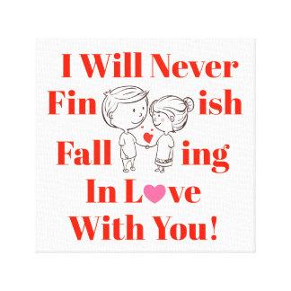 Impressão Em Tela Nunca termine cair no casal do dia dos namorados