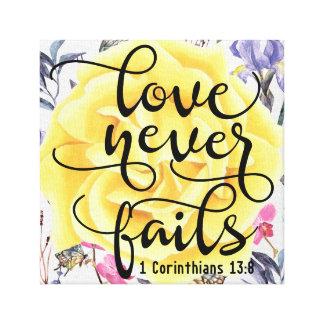 Impressão Em Tela O amor nunca falha 1 13:8 dos Corinthians