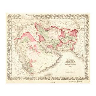 Impressão Em Tela O mapa de Colton de Persia Arábia (1865)