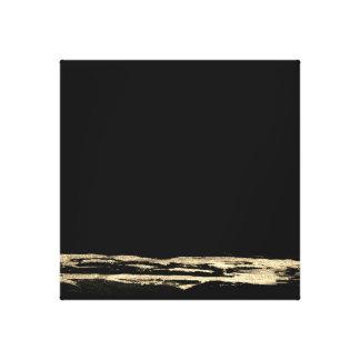 Impressão Em Tela O preto abstrato da pintura do ouro afaga a arte