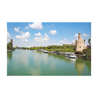 Impressão Em Tela O rio Guadalquivir e a torre dourada