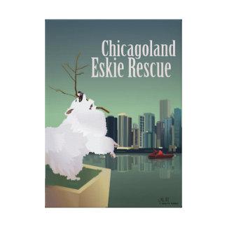 Impressão Em Tela O salvamento de Chicagoland Eskie esticou o