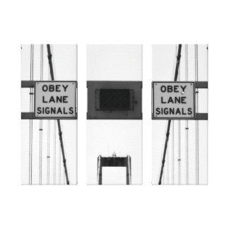 Impressão Em Tela Obedeça o Triptych dos sinais da pista
