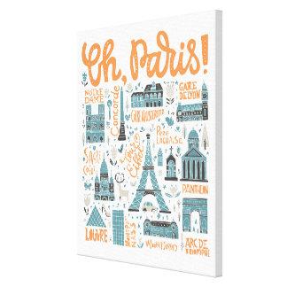 Impressão Em Tela Oh, Paris! tipografia da cidade de |