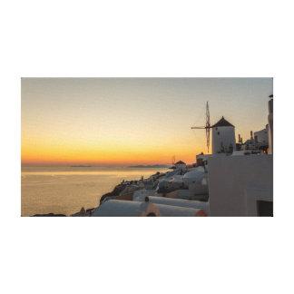Impressão Em Tela Oia, por do sol do moinho de vento de Santorini