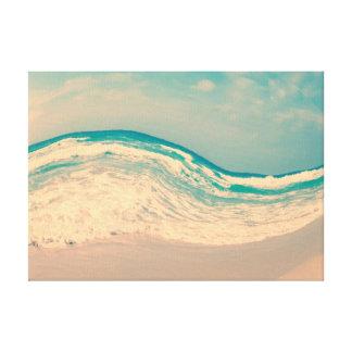 Impressão Em Tela Onda surreal da praia do vintage em cores Pastel