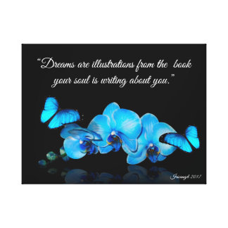 Impressão Em Tela Orquídeas azuis e borboletas com citações