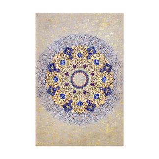 Impressão Em Tela Ouro colorido e indiano azul Shamsa