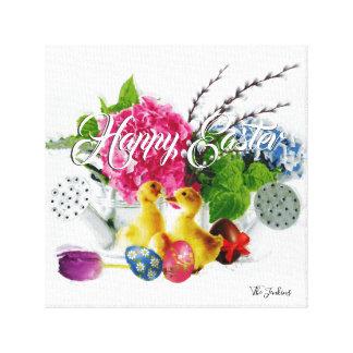 Impressão Em Tela Ovos da páscoa da aguarela, patinhos & flores do