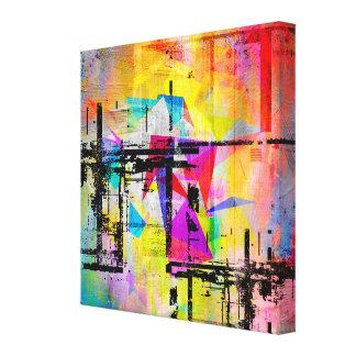 Impressão Em Tela Paisagem abstrata geométrica abstrata colorida