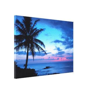 Impressão Em Tela Paisagem azul cor-de-rosa bonito do por do sol da