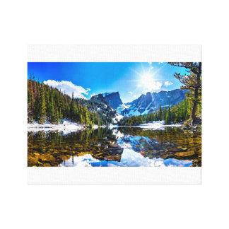 Impressão Em Tela Paisagem bonita da montanha da beira do lago