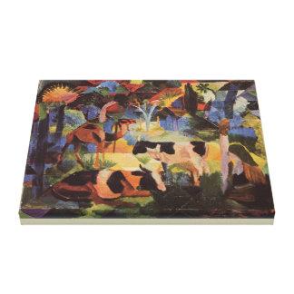 Impressão Em Tela Paisagem de August Macke com vacas e camelo