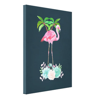 Impressão Em Tela Palmeiras cor-de-rosa do flamingo e Succulents