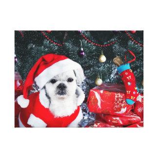 Impressão Em Tela Papai noel da caniche - cão do Natal - cão de
