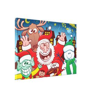Impressão Em Tela Papai Noel e sua equipe estão prontos para o Natal