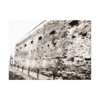 Impressão Em Tela Parede de tijolo medieval monocromática da
