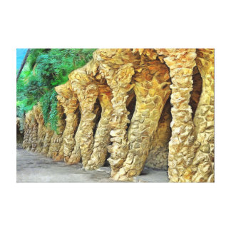 Impressão Em Tela Parque Güell. Colunas de Gaudi.