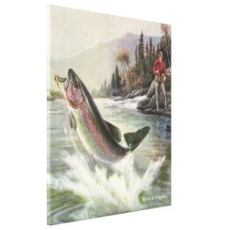 Impressão Em Tela Peixes da truta de arco-íris da pesca do pescador