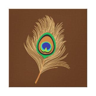 Impressão Em Tela Pena bege do pavão em castanho chocolate