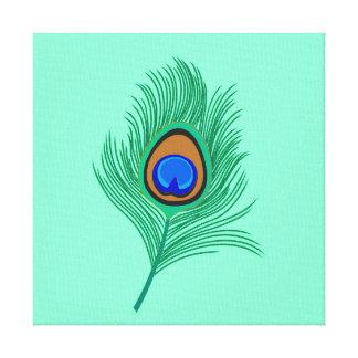 Impressão Em Tela Pena do pavão de turquesa no Aqua claro