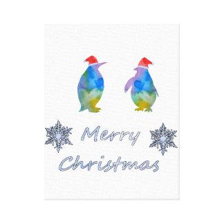 Impressão Em Tela Pinguins do Natal