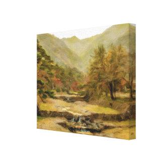 Impressão Em Tela Pintura a óleo; Mountain View na cachoeira de Yoro