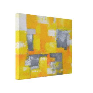 Impressão Em Tela pintura abstrata moderna branca amarela cinzenta