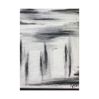 Impressão Em Tela Pintura abstrata preta branca e do cinza