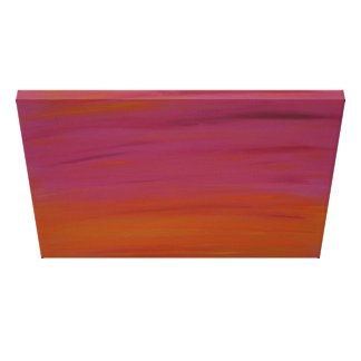 Impressão Em Tela Pintura acrílica: Por do sol cor-de-rosa e