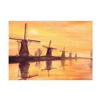 Impressão Em Tela Pintura da aguarela do por do sol dos moinhos de