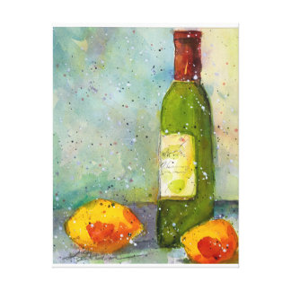 Impressão Em Tela Pintura da aguarela do vinho e dos limões