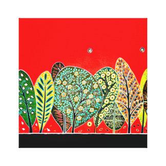 Impressão Em Tela Pintura da floresta do estilo da arte popular